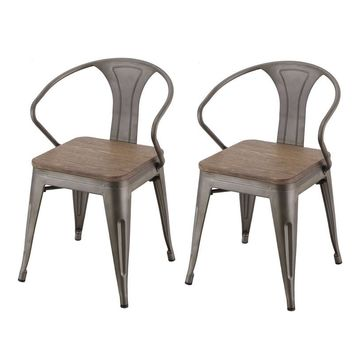 Set of 2 Toilx Metal Dining Chairs With Wooden Seats