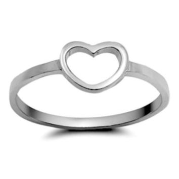 .925 Sterling Silver Open Heart I Love You Ladies and Kids ring size 3-10