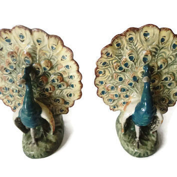 Antique Early 19th Century Pair Of Majolica Peacock Spill Vases
