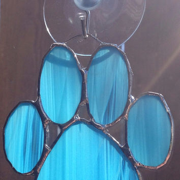 Blue Stained Glass Paw Print Suncatcher