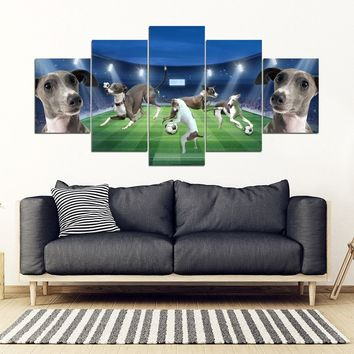 Italian Greyhound football Playground Print-5 Piece Framed Canvas- Free Shipping