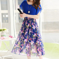 Royal Blue Floral Print Paneled Elastic Waist Midi Dress