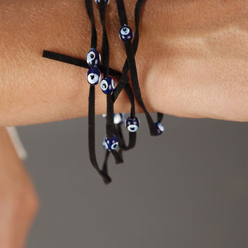 Apparel Addiction Evil Eye Bracelet in Black