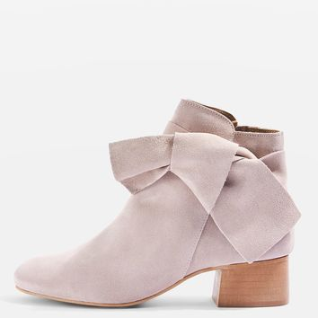 BOW Suede Ankle Boots   Topshop