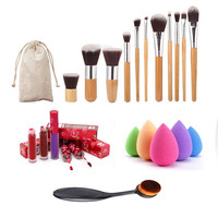 2016 Professional Makeup Brush Set 11 Makeup Brush+1 Toothbrush Brush+1 Puff Make Up Brushes Kit  +1 Lip Gloss  Foundation Set