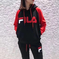 FILA Women Fashion Hoodie Top Sweater Pullover Pants Trousers Set Two-Piece