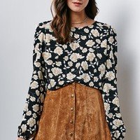Honey Punch Floral Print Cropped Long Sleeve Top - Womens Shirts - Floral