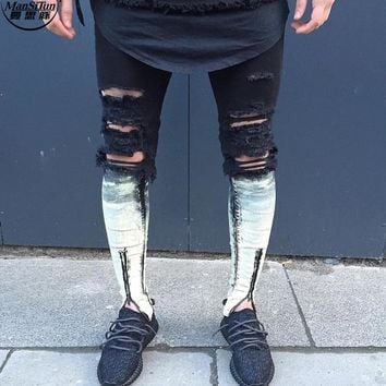 Man Si Tun 2017 Newest Fashion Tie-Dye Hole Destroyed Mens Slim Denim Straight Biker Skinny Jeans Men Ripped Jeans