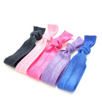 Yoga Hair Tie Package (5) No Dent Hair Ties - Elastic Ribbon Hair Ties - Like Emi Jay Knotted Fabric Hair Ties - Teen Hair Accessories