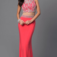 Coral Mock Two Piece Dave and Johnny Dress