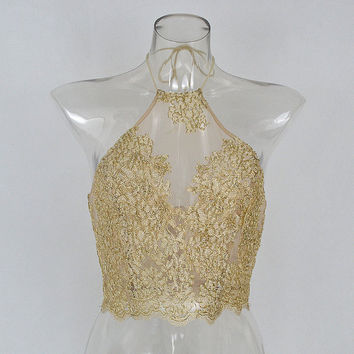 gold white red mesh net appliqué crop top halter strappy see through festival lace floral