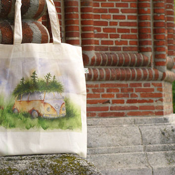 Volkswagen bus reusable shopping bag, woodland camper van organic cotton canvas eco tote