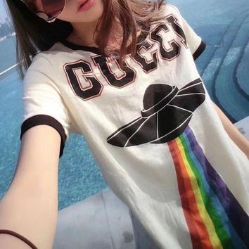 ESBONS Gucci' Women Casual Fashion Multicolor Rainbow UFO Letter Print Embroidery Dragon Short Sleeve T-shirt Top Tee