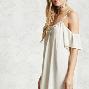 Crinkled Open-Shoulder Dress