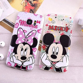 S6 S6 Edge S7 S7 Edge Cases Cartoon Mickey Minnie Mouse Clear Soft TPU Phone Cases for Samsung Galaxy S7 Edge S6 Edge Case Cover