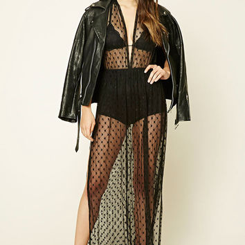 Mesh Star Pattern Maxi Dress
