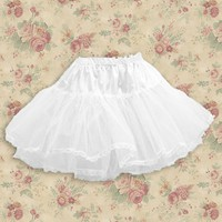 Short White Cotton And Net Sweet Lolita Underskirt With Tiers Hemline