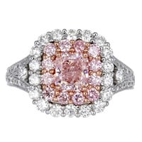Natural Pink Diamond Cluster Ring