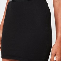 Missguided - Petite Black Elastic Waist Mini Skirt