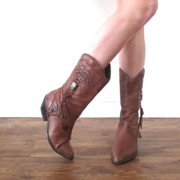 Vintage 80s ZODIAC Stitched Tree Native American Embellished Western Cowboy Boot // Brown Tan // Biker Hippie Boho // Women's US 7 / 7.5