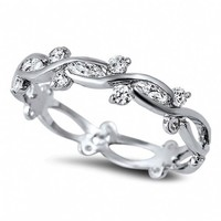 Odette's Sterling Silver Cubic Zirconia Vine Eternity Ring