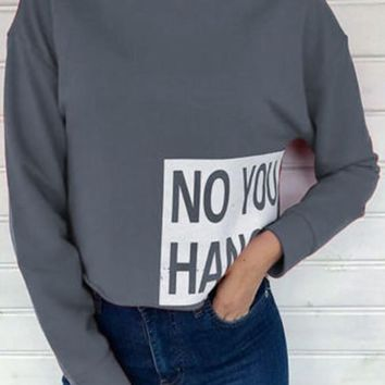 Grey Monogram Print Band Collar Crop Fashion Pullover Sweatshirt