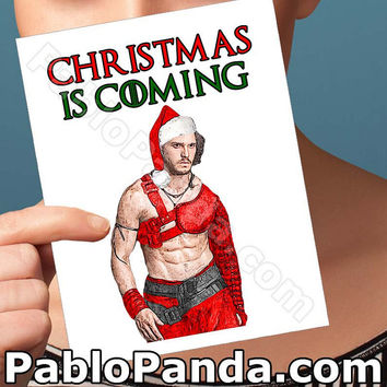 Funny Christmas Card | Game Of Thrones | Jon Snow Greeting Cards Sexy Christmas Gifts For Men Holiday Wreath Christmas Card Just Because Her