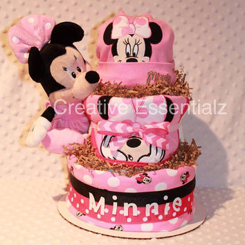 Diaper Cake, Baby Gift, Minnie Mouse, Shower Centerpiece