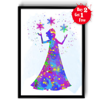 Elsa The Snow Queen, Fine Art Print Disney, Decor Home Children's Watercolor, Canvas print, Kids room wall decor