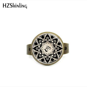 2017 New Style Yoga Jewelry Om Symbol Adjustable Rings Buddhism Zen Meditation Mandala Art Ring Galaxy Rings Gifts For Women