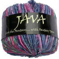 Java Ribbon Yarn, Fantasy Yarns Multicolor Nylon Texture for Knitting, Crochet, Bulky, Christmas Gift