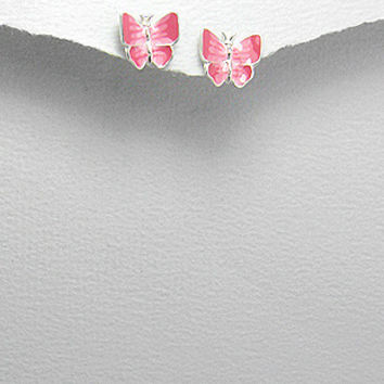 Girl's Sterling Silver Butterfly Studs, Decorated with Colored Enamel.
