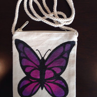 Hand Painted Butterfly Purse on a String