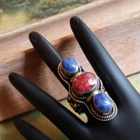Lapis Lazuli Gemstone Ring Statement Ring Cherry Ruby Ring  Cocktail Ring Size 8 3/4 Ring Sterling Silver Ring Wide Band Oversized Ring