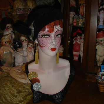 Hand Painted Flapper Mannequin Head Vintage Art Deco Style Hat Display Redhead