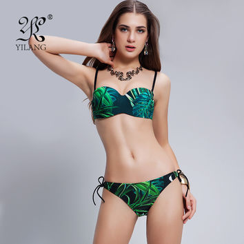 Tropical Beach Style Bathing Suit Korean Luxury High Street Slim Push Up Bikini Sets  Fresh Swimwear Sexy Top Bottom Swimsuit