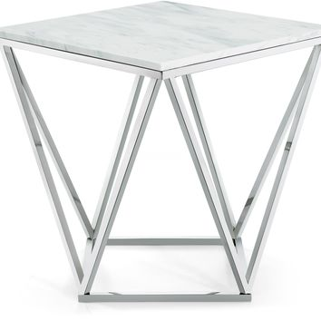 Skyler Chrome End Table Marble Top