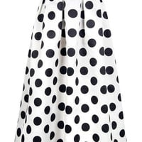 High Waist Polka Dot Print Pleated Maxi Skirt