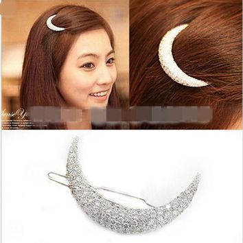 ICIKHY9 Newest Crystal Moon Rhinestone Hair Accessories For Women,Hair Clips For Girls Headdress Hairpin Clamps  scrunchy