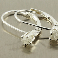 White Rough Diamond Leverback Earrings - Sterling Silver Raw Diamonds - April Birthstone