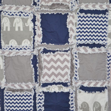 Custom Elephant Rag Quilt in Gray and Navy Blue, Crib Quilt Size, Made to Order