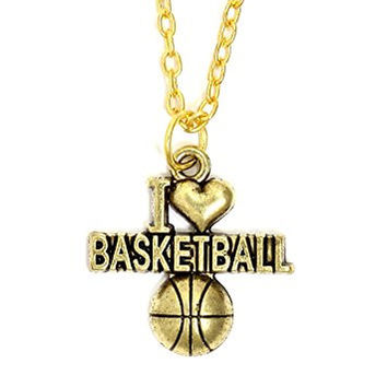 I Heart Basketball Necklace Athletic Ball Charm Sports Pendant NT16 Gold Tone Fashion Jewelry