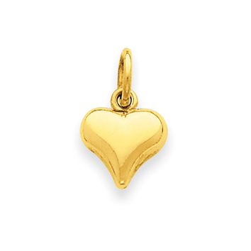 14k Yellow Gold Puffed Heart Charm or Pendant, 8mm (5/16 inch)