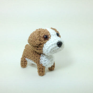 English Bulldog Stuffed Animal Handmade Amigurumi Puppy Crochet Dog Plush / Made to Order