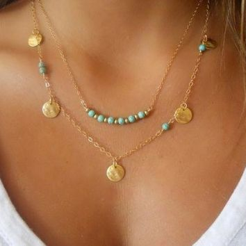 PEAPIX3 Simple Silver & Gold Bohemian Charm Necklace For Women Coin Bead Chain MultiLayer Fashion Bohemian Turquoise Necklace Pendant = 1928411780