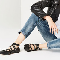 LEATHER BALLET FLATS WITH STRAPS AND STUDS DETAILS