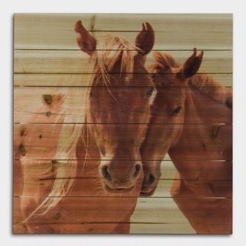 Horses on Wood Wall Art