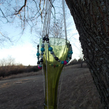 Wine Bottle Planter Hanging Outdoors Glass Garden Deck Porch Window Decoration Repurposed Crafted Green Hemp Recycled Upscaled Home Decor