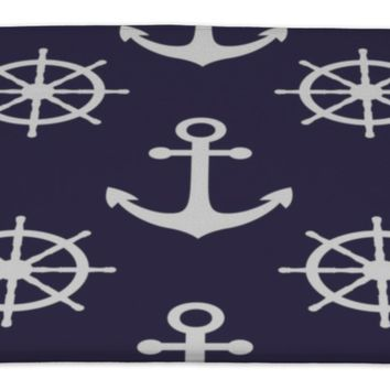 Bath Rug Mat No Slip Microfiber Memory Foam, Navy Blue White Anchors Marine Nautical Sea Theme Cute , 34x21