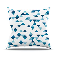 "Project M ""Triangles Blue"" Navy White Throw Pillow, 16"" x 16"" - Outlet Item"